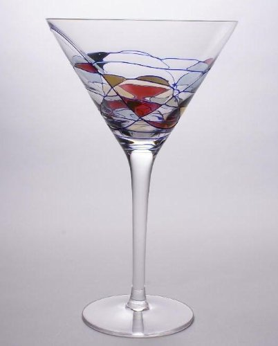 - Set Of Two (2) - Romanian Crystal Barware - Cobalt Blue Swirl/Stained Glass Pattern - Milano Design - 12 Oz Martini Glasses