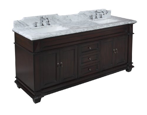 Kitchen Bath Collection KBC5972BRCARR Elizabeth Bathroom Vanity with Marble Countertop, Cabinet with Soft Close Function and Undermount Ceramic Sink, Carrara/Chocolate, ()