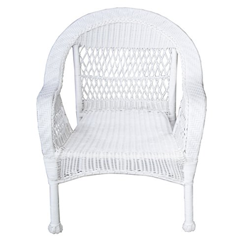 Oakland Living AZ9999-CHAIR-WT Traditional Outdoor and Indoor Stackable All Weather White Aluminum Frame Resin Wicker Patio Chair, Medium