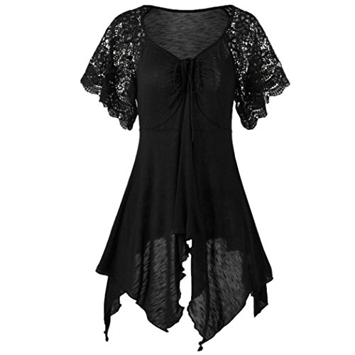 UONQD T Shirts Woman Summer Lace Floral Bandage V Neck Short Sleeve Patchwork -