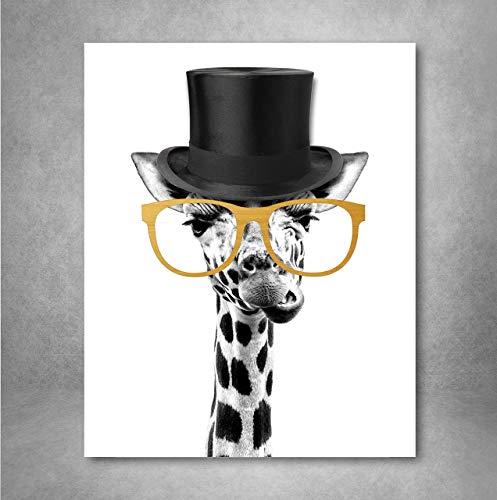 Gold Foil Art Print - Gentleman Giraffe With Gold Foil Glasses 8x10 ()