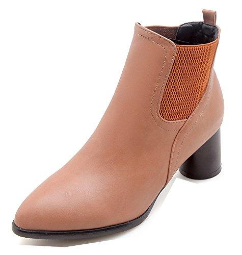 Femme Chelsea Talon Souple Boots Courte Tige Mode Brun Bloc Aisun dxvPHwd