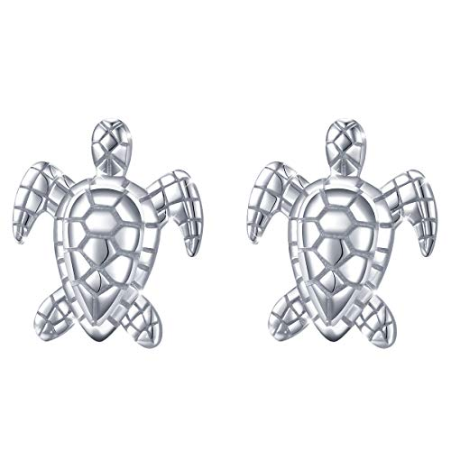 (Health and Longevity) S925 Sterling Silver Sea Turtle Animal Stud Earring for Women Girl Child 18'' Chain