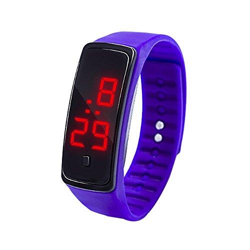 Fxbar,LED Digital Display Bracelet Watch Children's Students Silica Gel Sports Watch Simple Dress Watch(Purple)