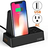 COZOO Qi Wireless Charger Stand with 3-Port USB Charging Station Organizer Dock and 2 Outlets Power Strip for Multiple Devices 30W/6A (Wireless Charging Dock with USB and Outlet)