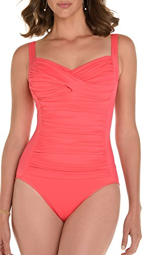 Trimshaper Solid Ruched One Piece Suit Coral Orange 16