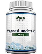Magnesiumcitraat 200 mg tabletten – Magnesiumtabletten, geen Capsules - 200 mg Elementaire Magnesium per Portie - 180 Veganistische Tabletten, 6 Maanden Voorraad - Magnesiumsupplement met Hoge Dosis - Gemaakt in het VK