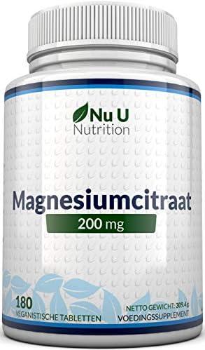 Magnesiumcitraat 200 mg tablettenMagnesiumtabletten geen Capsules200 mg Elementaire Magnesium per Portie180 Veganistische Tabletten 6 Maanden VoorraadMagnesiumsupplement met Hoge DosisGemaakt in het VK