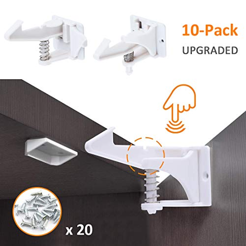 GROWNEER [Upgraded] 10-Pack Child Safety Cabinet Locks for Drawers & Cabinets, Baby Proof Cabinet Locks Child Safety Latches Invisible Design, w/ 10 Buckles & 20 Screws