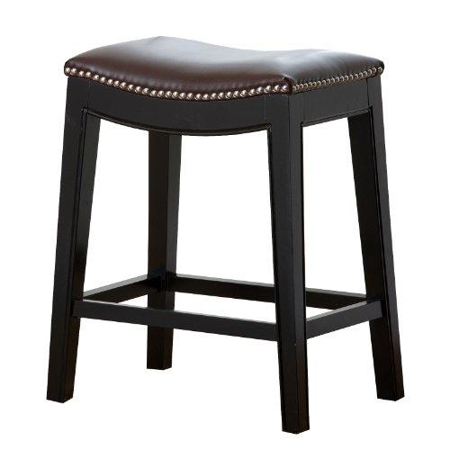 Abbyson® Paula Leather Nailhead Trim Counter Stool, Dark Brown (Nailhead Trim Brass)