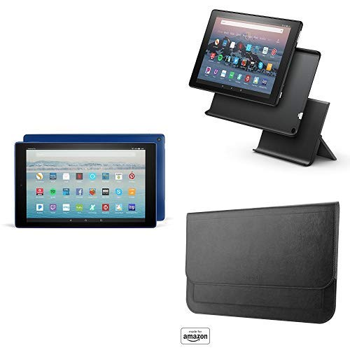 Fire HD 10 Tablet with Alexa Hands-Free (Marine Blue) + Show Mode Charging Dock + Made for Amazon Casebot Origami Sleeve