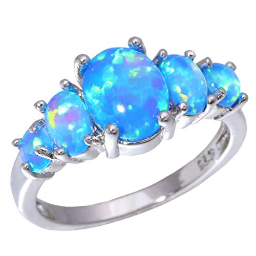 MARRLY.H White Orange & Blue Fire Opal Filled Rings with Round Stone Silver Plated Luxury Big Bohemia Summer Jewelry Woman Blue 12