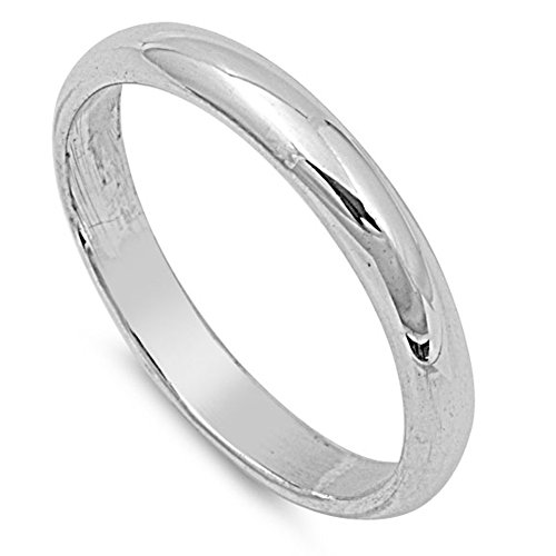 Sterling Silver Wedding 3mm Band Plain Comfort Fit Ring Solid 925 Size 9 ()