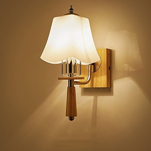 CGJDZMD Vintage Wall Lamp Sconce Nordic Modern Simple Solid Wood Wall Lights Logs Style Glass Lampshade Wall Light Oak Wood Headboards Wall Lights, E27 Socket, (Not Include Bulb) by CGJDZMD