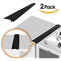 Lindas Silicone Kitchen Stove Counter Gap Cover Long & Wide Gap Filler (2 Pack) Seals Spills Between Counters, Stovetops, Washing Machines, Oven, Washer, Dryer | Heat-Resistant and Easy Clean (Black)