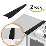 stove top gap cap - Linda's Silicone Kitchen Stove Counter Gap Cover Long & Wide Gap Filler (2 Pack) Seals Spills Between Counters, Stovetops, Washing Machines, Oven, Washer, Dryer | Heat-Resistant and Easy Clean (Black)