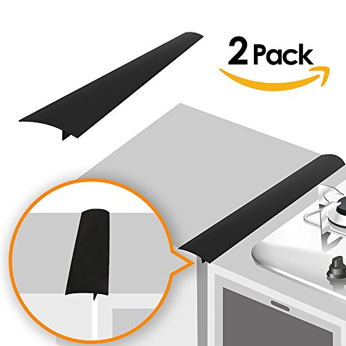 Linda's Silicone Kitchen Stove Counter Gap Cover Long & Wide Gap Filler (2 Pack) Seals Spills Between Counters, Stovetops, Washing Machines, Oven, Washer, Dryer | Heat-Resistant and Easy Clean (Black) ()