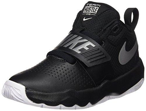 NIKE Boy's Team Hustle D 8 (PS) Pre School Basketball Shoe Black/Metallic Silver/White Size 1 M US