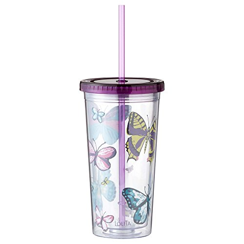 Enesco Designs by Lolita Butterfly Acrylic Tumbler, 22 oz.