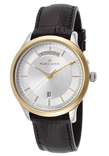 Maurice Lacroix Les Classiques Silver Dial Black Leather Strap Gold Plated Stainless Steel Ladies Quartz Watch LC1227-PVY11-130