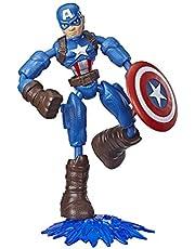 Marvel Avengers Bend and Flex-actiefiguur, flexibele Captain America-figuur van 15 cm, met blastaccessoire, voor kinderen vanaf 6 jaar