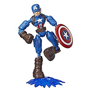 Avengers Marvel Bend and Flex Action Figure Toy, 6-Inch Flexible Captain America Figure, Includes Blast Accessory, for…