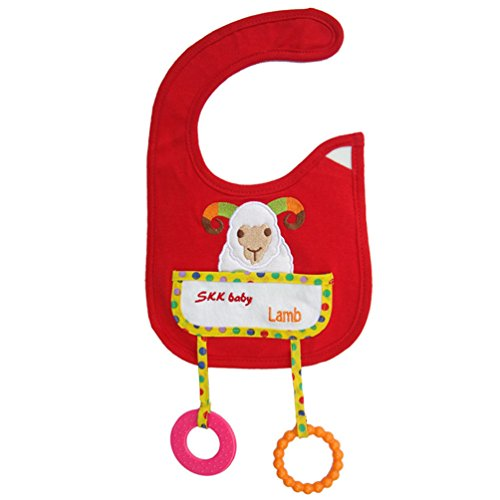 [Lamb Animal Style Waterproof Baby Bibs With Teether Toy Burp Cloths Saliva Towel] (Infant Red Minnie My First Disney Costumes)