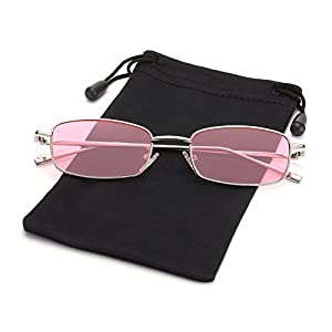 Retro Small Square Sunglasses John Lennon Shades for Women and Men by LOOKEYE, 100% UV Protection, Sliver Frame and Pink Lens