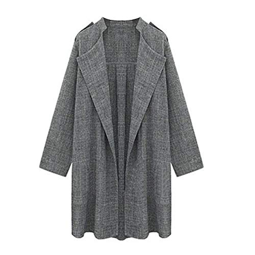 HGWXX7 Women's Loose Plus Size Solid Open Front Cardigan Overcoat Jackets Trench Coat