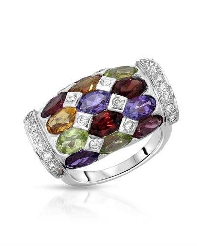 - 18K White Gold Amethyst/CItrine/Garnet/Peridot & Round Diamond Ring