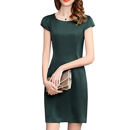 Damen S9911 Seide Long Kleid Übergröße Einfarbig Abendkleid Cocktail Knee DISSA Dunkelgrün Kleider aq1Cd5a