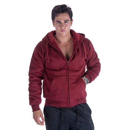 Mens Zip Front Hoodie Oversized Heavyheight Sherpa Lined Sweatshirt Black Grey Long Sleeve Jacket (Medium, Wine)