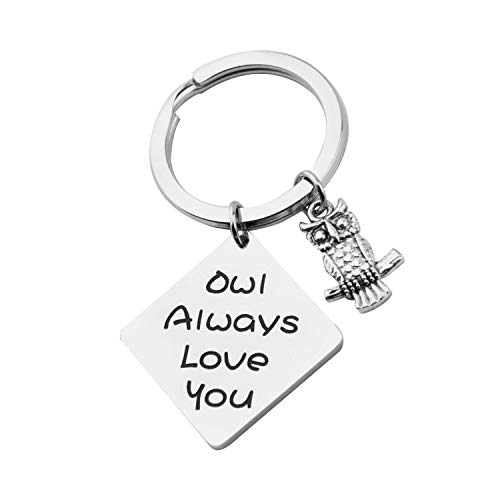 MAOFAED Owl Keychain Owl Always Love You Couples Gift Mom Gift Dad Gift Valentines Day for Her or Him (Owl Always Love You) -
