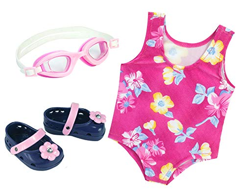Sophia's Pink Floral Swimsuit for 18 Inch Dolls with Pink Sandals and Water Goggles (For 18 Bathing Inch Dolls Suits)