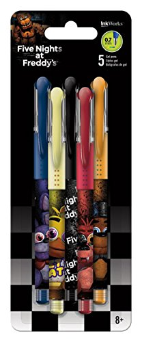 Dreamworks Five Nights at Freddy' Gel Pens 0.7mm 5/Pkg - Green, Purple, Orange, Pink & Blue