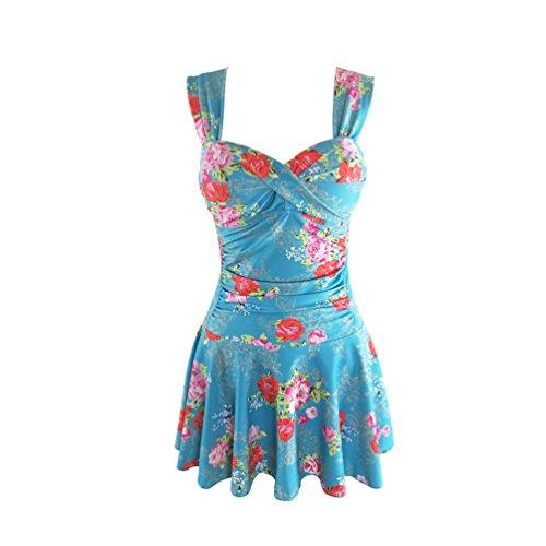 JIANLANPTT Women One Piece Swim Dress Vintage Flower Print Swimwear Swimsuit Plus Size Blue Flower Floral Print XL=US (Skirted Polka Dot)