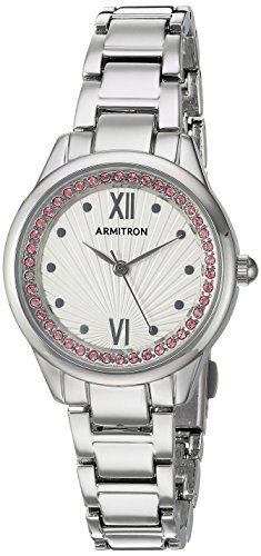 Armitron Women's 75/5480SVSVPK Light Pink Swarovski Crystal Accented Easy to Read Gold-Tone Bracelet Watch
