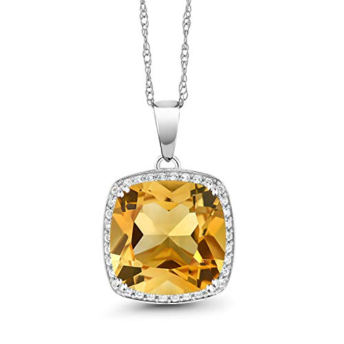 Gem Stone King 6.09 Ct Cushion Yellow Citrine White Diamond 10K White Gold Pendant ()
