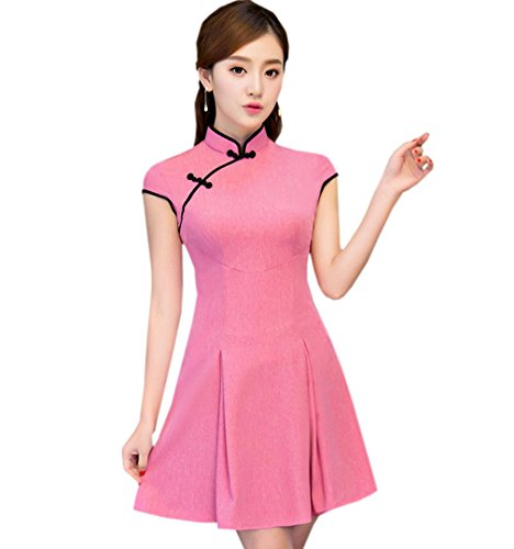 Fonc Qipao Robe en Et Style Polyester ACVIP Courte Rose Cheongsam Femme Amlioration Nation xaf4xwH7q