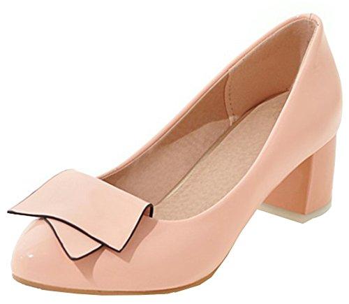Idifu Womens Habillé Bout Arrondi Bas Top Slip Sur Mi Talons Chunky Pompes Chaussures Avec Noeuds Rose 1