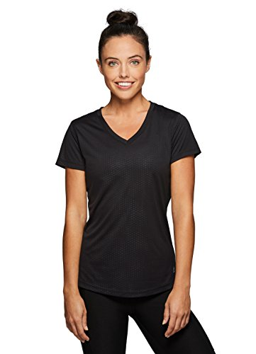 RBX Active Women's Embossed V-Neck Short Sleeve Workout Shirt Black M