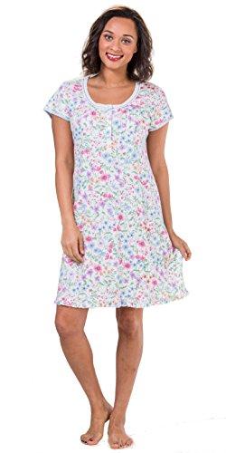 Miss Elaine Women's Cottonessa Floral-Print Short Nightgown (Miss Elaine Satin Nightgown)