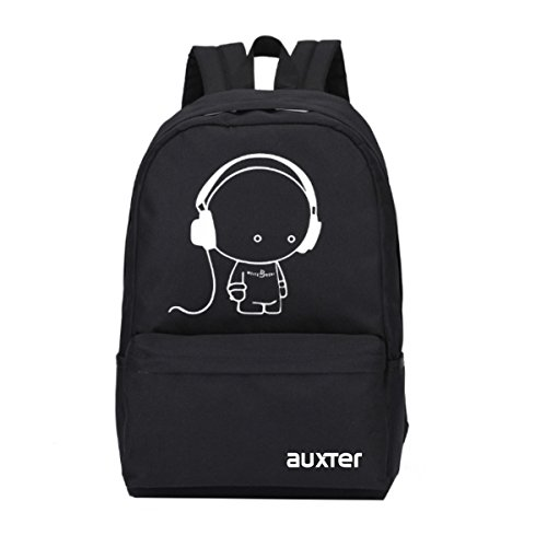 AUXTER Polyester Music 15 Ltrs Casual School Bag College Backpack for Boys and Girls (Black)