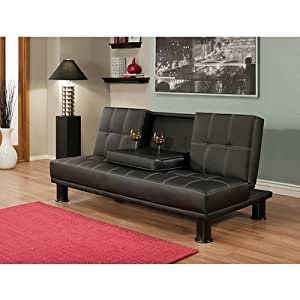 Convertable Black Faux Leather Furniture Sofa Couch Bed With Fold Down Storage Drink