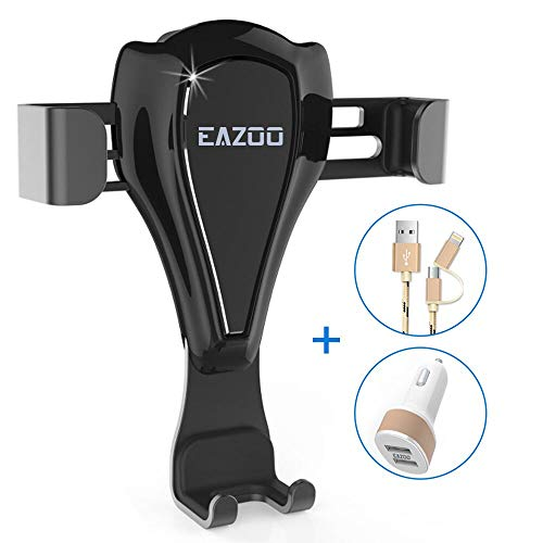 (EAZOO Car Phone Mount Air Vent Phone Holder for Car with USB Cable, Car Charger and Cleaning Set)