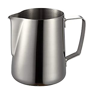 Milk Frothing Pitcher, Coffee4u Stainless Steel Latte Art Creamer Cup Silver for Espresso Machines,Mirror Finished