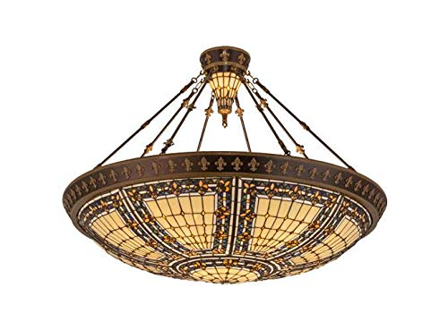 Meyda Tiffany 98754 Fleur-De-Lis Collection 10-Light Semi-Flush - Mahogany Bronze and Antique Gold with Opaque Beige Jeweled Stained Glass Shade