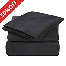 Twin Size 3-Piece Bed Sheets Set with Deep Pocket by MEROUS - Hypoallergenic Microfiber Bedding - Wrinkle, Fade, Stain Resistant - Black