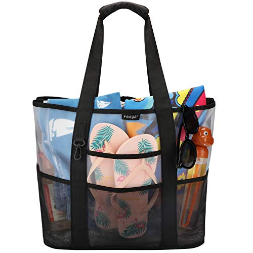 - Feagar Mesh Beach Bag Tote, Large Reusable Shopping Beach Bag Shoulder Tote Handbag, Family Picnic Swimming Pool Holiday Outdoor Grocery Organizer Net Bag Sand Toys Storage Quick Drying Mesh Bag