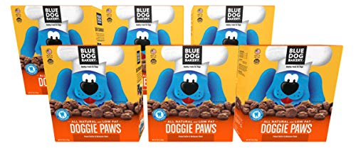 Blue Dog Bakery Natural Dog Treats, Doggie Paws, Original, Peanut Butter & Molasses Flavor (Pack of 6)